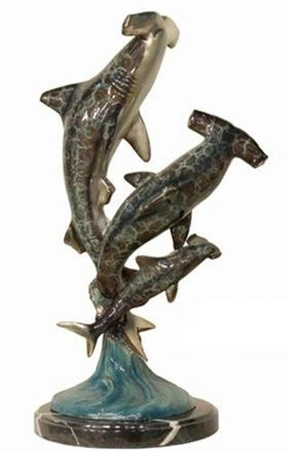 Bronze Hammerhead Sharks Statue - AF 94094NB