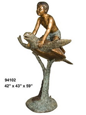Bronze Boy Riding Turtle Fountains - AF 94102