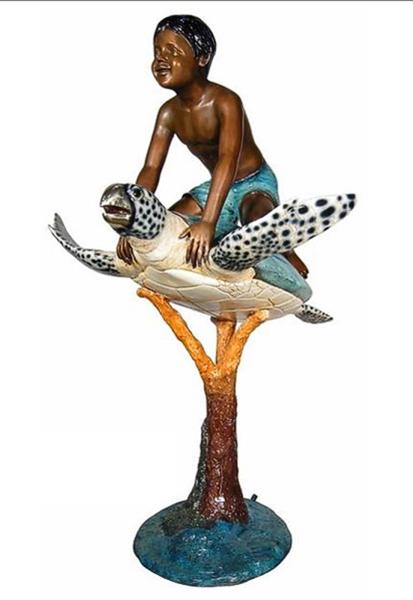 Bronze Boy Riding Turtle Fountain - AF 94102NA