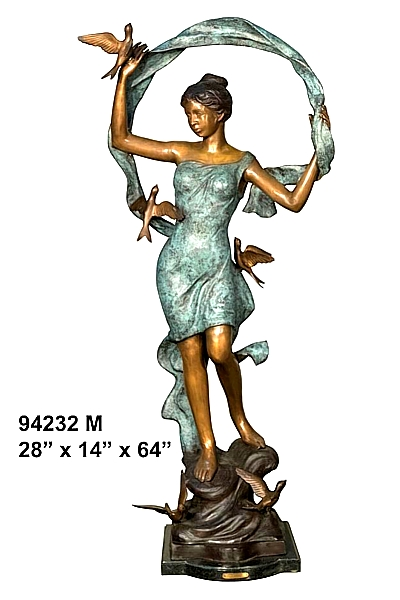 Bronze Lady with Ribbon and Birds Statue - AF 94232