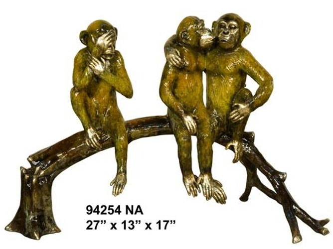 Bronze Monkeys on Tree Statue - AF 94254NA
