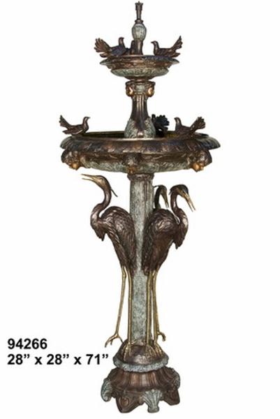 Bronze Crane Fountains - AF 94266