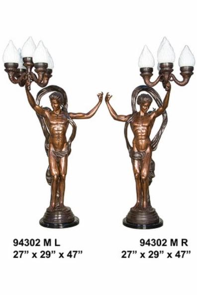Bronze Ladies Torchiere Lamps - AF 94302M