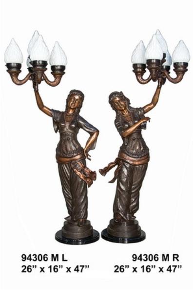 Bronze Ladies Torchiere Lamps - AF 94306M