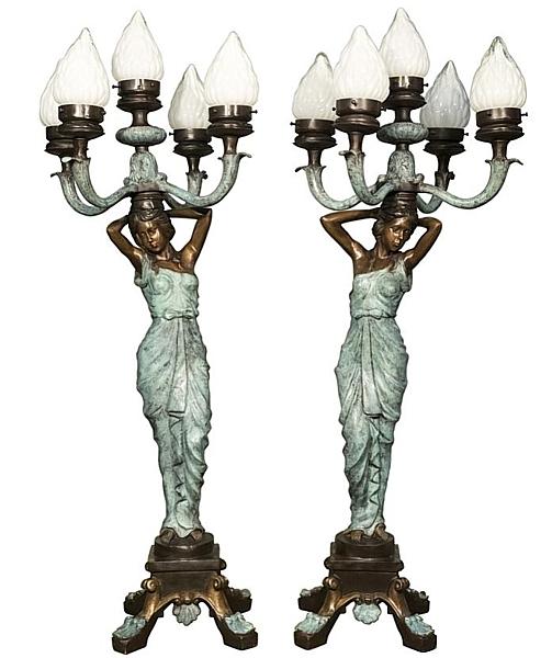 Bronze Ladies Torchiere Lamps - AF 94307 BG R