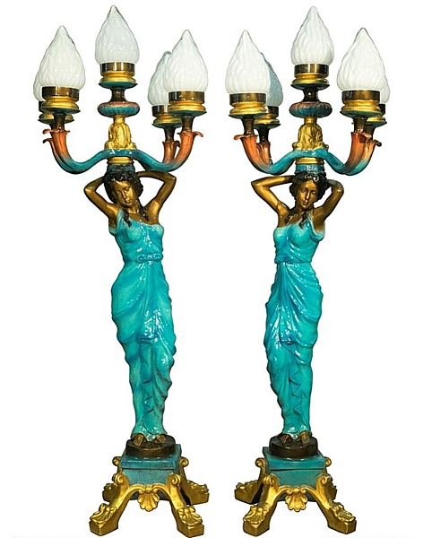 Bronze Ladies Torchiere Lamps - AF 94307 NA