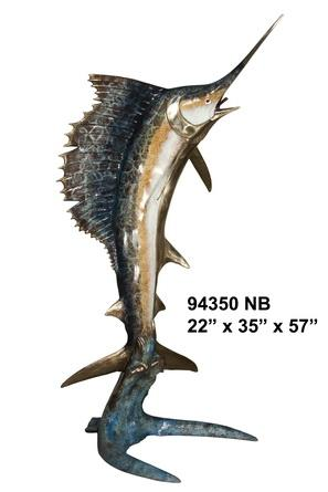 Bronze Sailfish Sculpture Statue - AF 94340NB