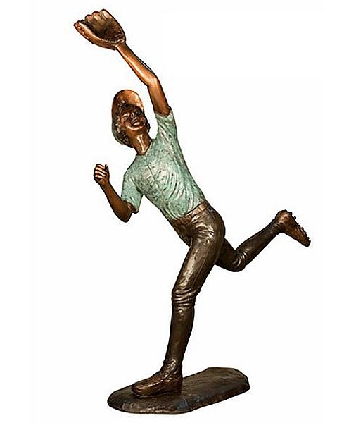Bronze Baseball Outfielder Statue - AF 94384