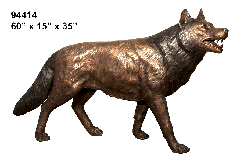 Bronze Howling Wolf Statue - AF 94414