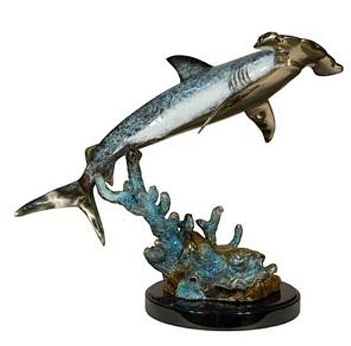 Bronze Hammerhead Shark Statue - AF 94424NA
