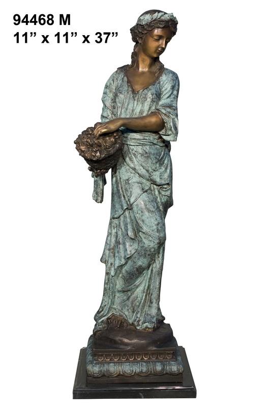 Bronze Lady Holding Basket Statue - AF 94468M