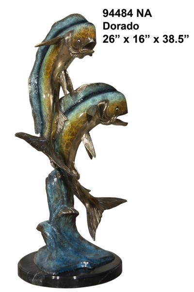 Bronze Jumping Dorado Statues