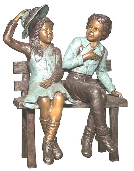 Bronze Boy & Girl Statue - AF 94568