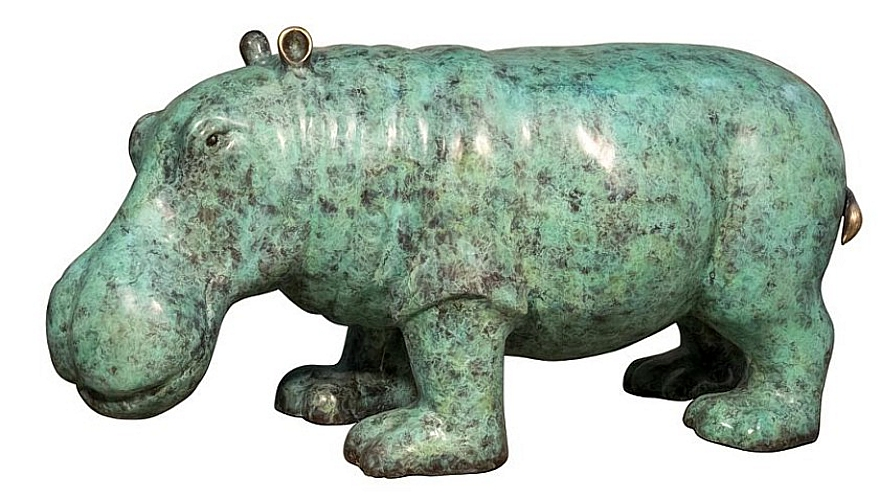 Bronze Hippopotamus Statue - AF 94602