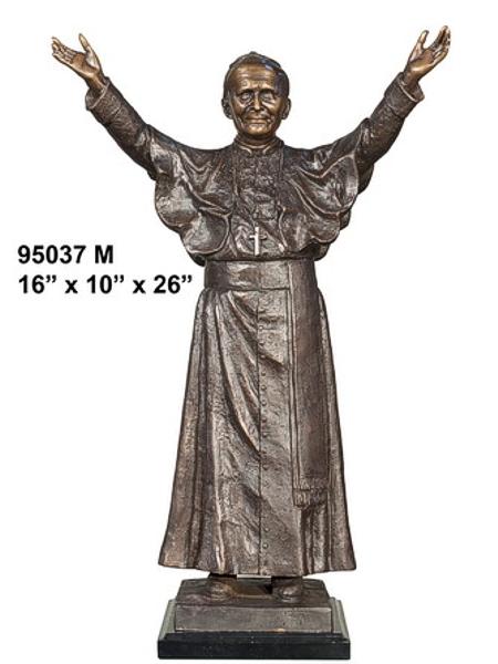 Bronze Pope John Paul 2nd Statue - AF 95037M