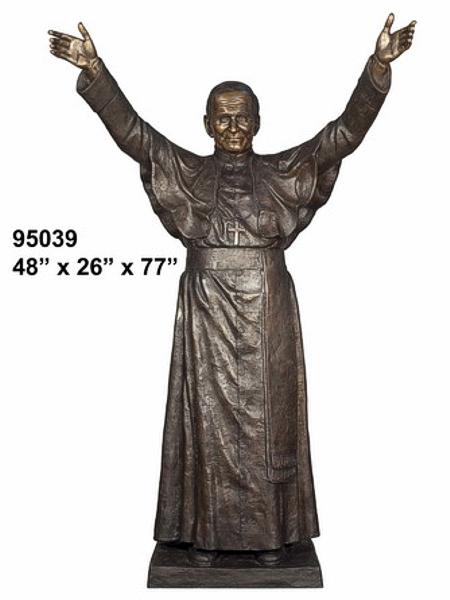 Bronze Pope John Paul 2nd Statue - AF 95039
