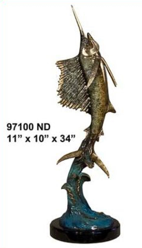 Bronze Sailfish Statue - AF 97100ND
