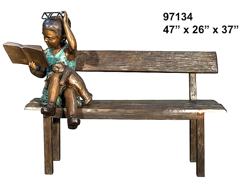 Bronze Child on Bench Reading - AF 97134