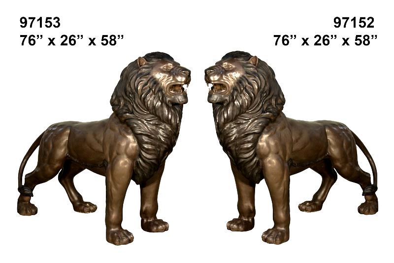 Bronze Lion Statues - AF 97152-53
