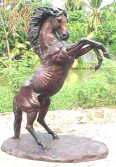 Bronze Rearing Horse Statue - PA A-1042