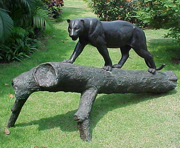 Bronze Panther on Log Statue - PA A-1052