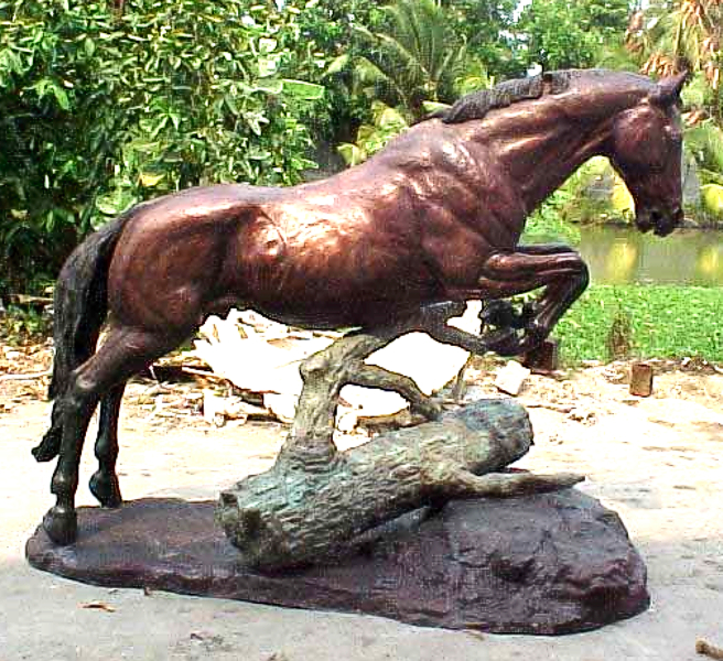 Bronze Jumping Horse Statues - PA A-1054