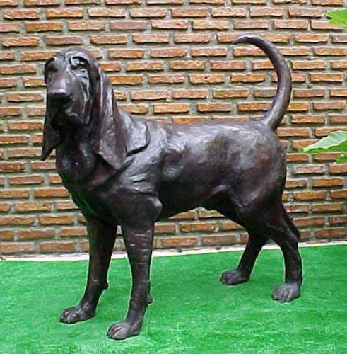Bronze Blood Hound Statue - PA A-1055