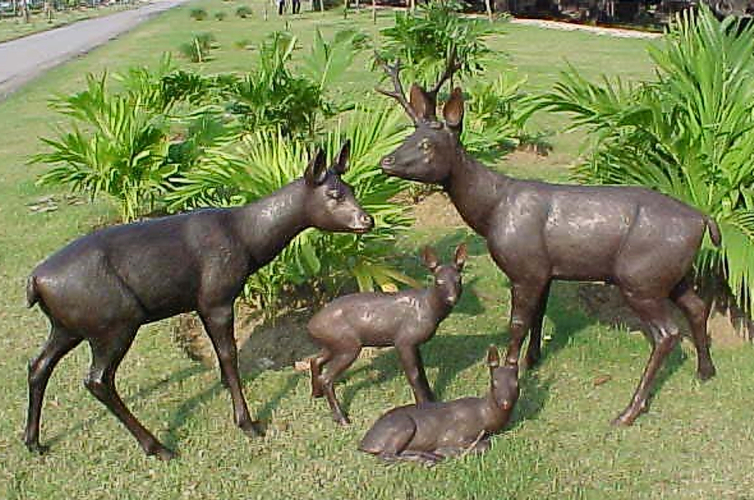Bronze Deer Family Statues - PA A-1072