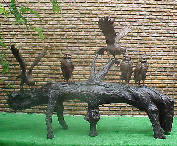 Bronze Owls Log Fountain - PA A-1076F