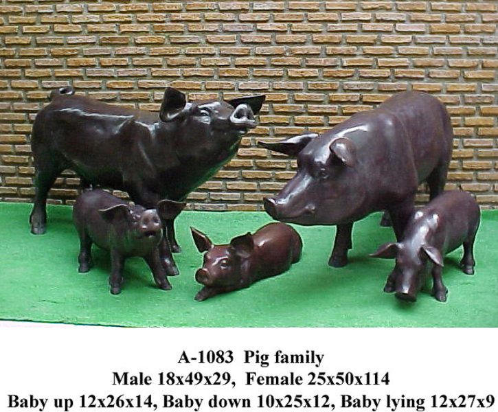 Bronze Pig Family Statues - PA A-1083