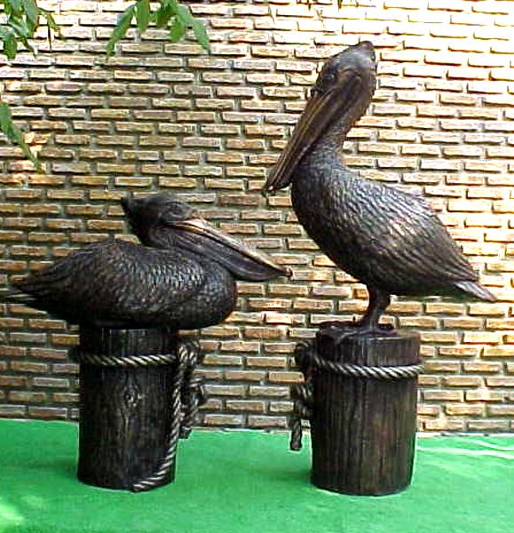 Bronze Pelican Statues - PA A-1086 A-1087