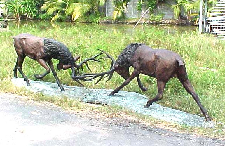 Bronze Deer Buck Statues - PA A-1093