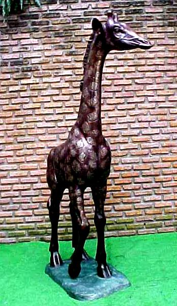 Bronze Giraffe Calf Statue - PA A-1119C