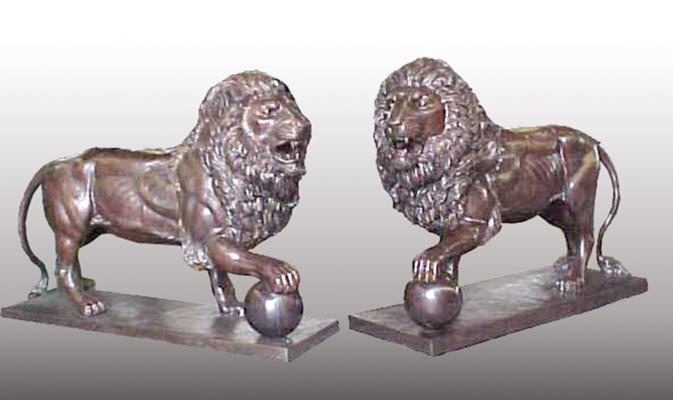 Bronze Lion Statues - PA A-1123