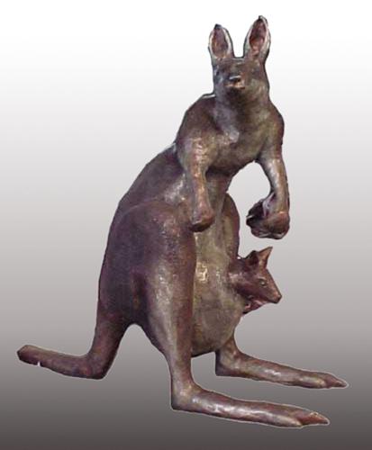 Bronze Female & Baby Kangaroo Statue - PA A-1149