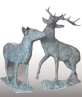 Bronze Deer Buck & Doe Statues - PA A-1159