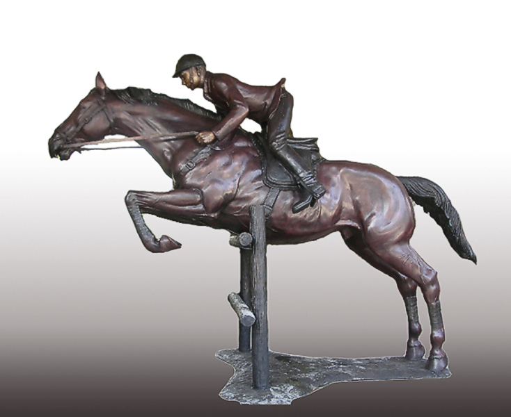 Bronze Steeplechase Horse Statues - PA A-1183