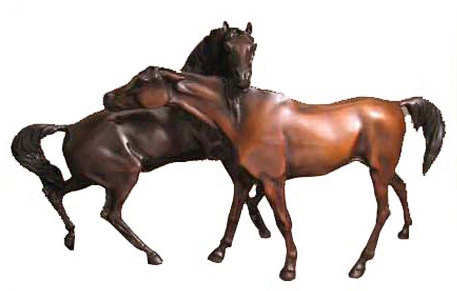 Bronze Loving Horse Statues - PA A-1186