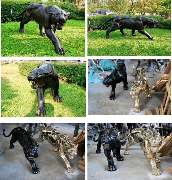 Bronze Panther Statue - PA A-1194