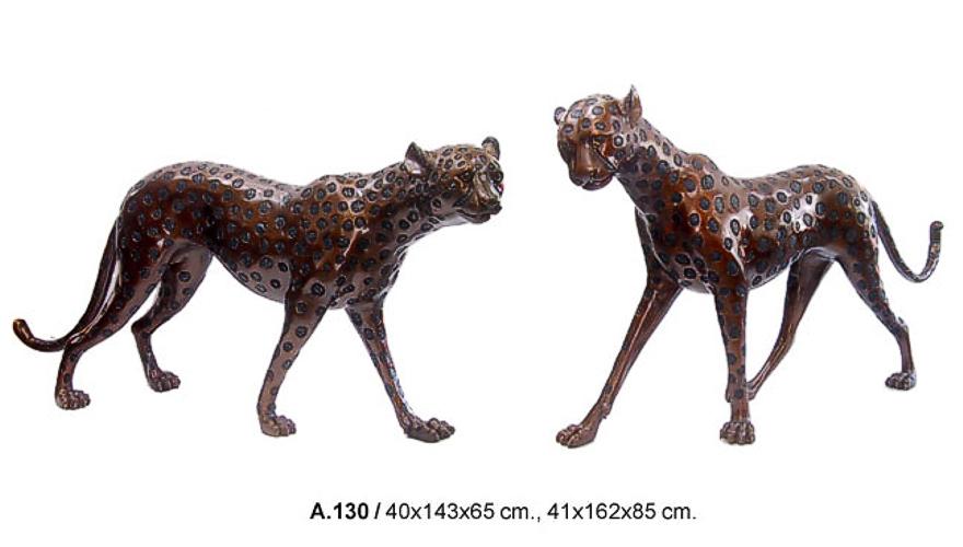 Bronze Leopard Statues - DD A-130
