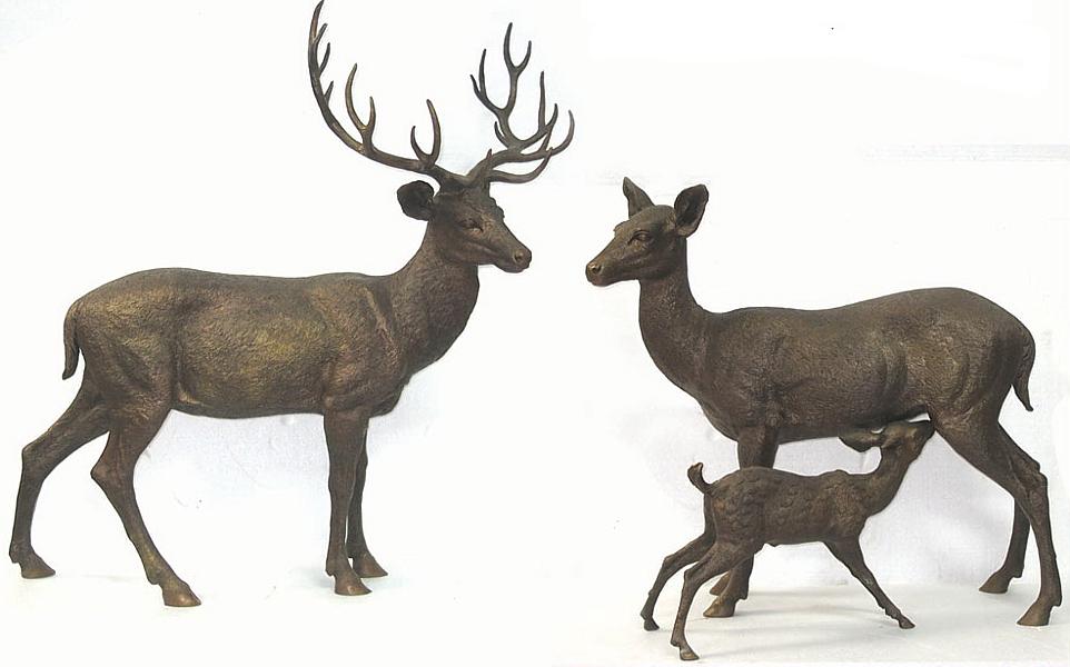 Bronze Deer Family Statues - DD A-275