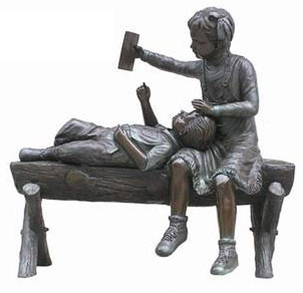 Bronze Children on Bench - AF B-1661