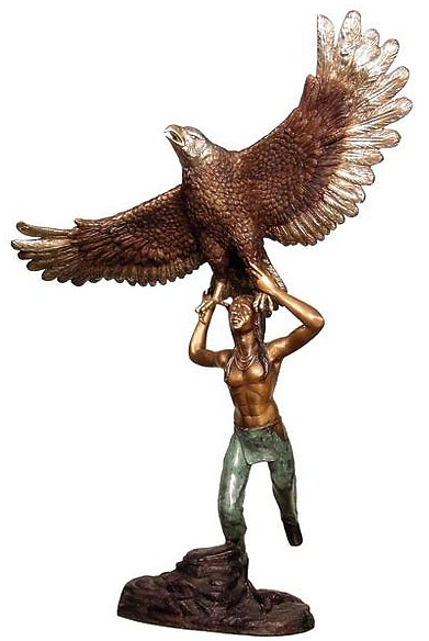 Bronze Indian with Eagle Statues - AF 28928
