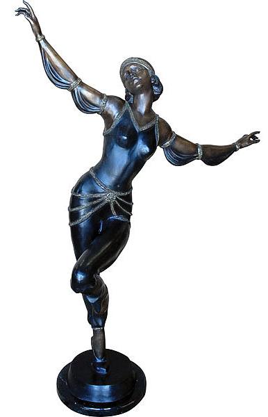 Bronze Egyptian Lady on Mrb Base - AF 57570MTS