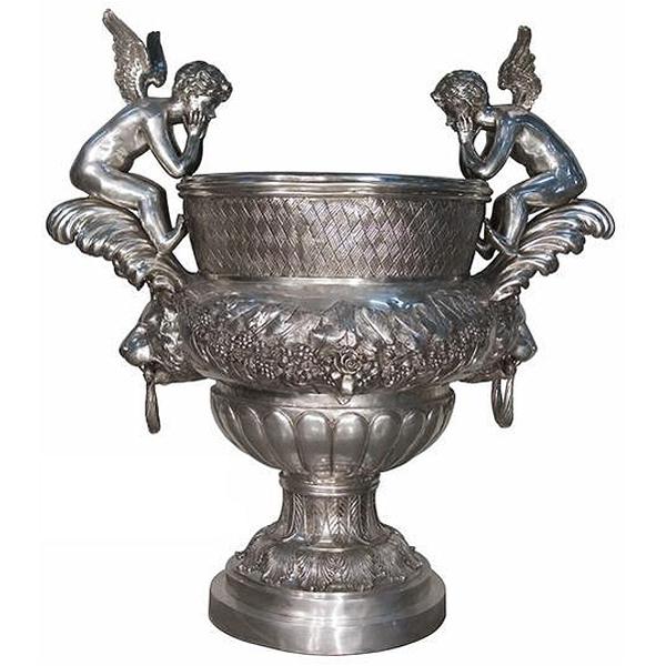 Bronze Cupid Urn Monumental-Silver - AF 74360-SIL