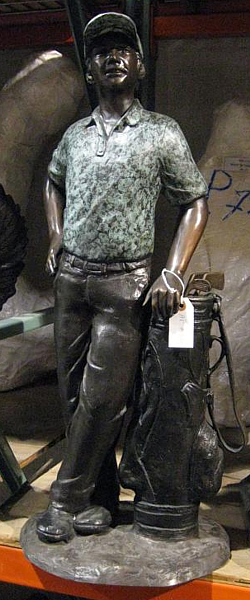 Bronze Golfer with Bag Statue - KT AP-730