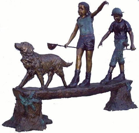Bronze Kids Tree Log Statue
