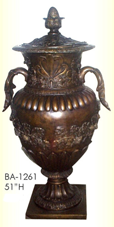 Bronze Urn w/Lid Grape Design - ASI BA-1261
