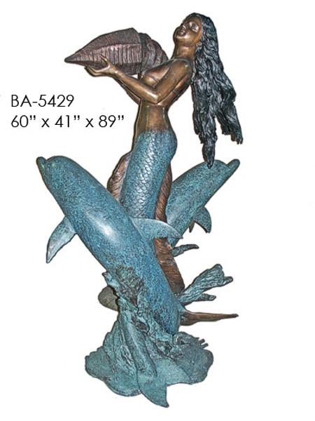 Bronze Mermaid Statue - ASI BA-5429