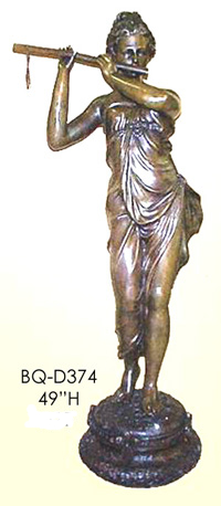Bronze Lady Playing Flute Statues - ASI BQ-D374